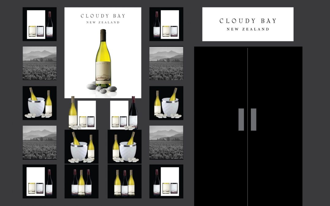 Installation of Cloudy Bay Wine at Harvey Nichols